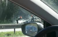 Płonie auto na obwodnicy w kierunku Gdynia