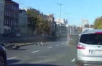 Moment wypadku motocyklisty