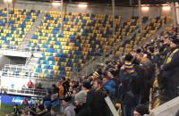 Kibice Arki na jednej trybunie podczas meczu z Jagiellonią