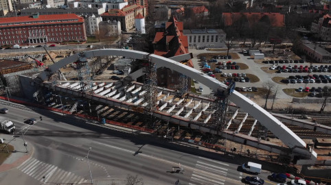 Nowy wiadukt Biskupia Górka z lotu ptaka