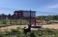 Straż pożarna przy jeziorze w okolicy PKM Jasień
