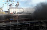 Pożar na terenie stoczni Crist 19.07.2019