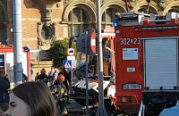 Wpadek  autokaru i tramwaju przy Bramie Wyżynnej