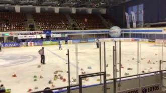 Misie zasypały lodowisko na meczu Lotos PKH Gdańsk