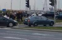 Skutki wypadku na skrzyżowaniu Havla i Łostowickiej