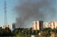 Czarny dym widoczny nad Chełmem