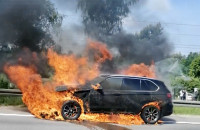 Pożar auta na obwodnicy między Osową a Matarnią