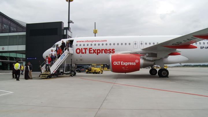 OLT Express zaprezentował swójnowy samolot, który będzie obsługiwał loty do, izRębiechowa.