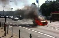 Pożar samochodu na Wałach Jagiellońskich
