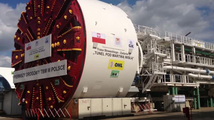 Maszyna TBM, która wydrąży tunel pod Martwą Wisłą.