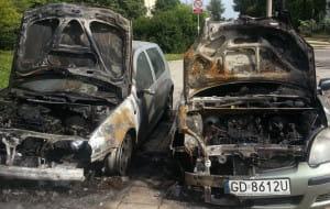 W nocy spłonęły trzy samochody przy Angielskiej Grobli