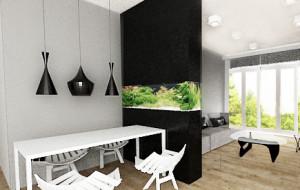 Ścianka między salonem a jadalnią