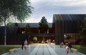 """""""Spalony"""" budynek stanie w ogrodzie botanicznym w Gdyni"""