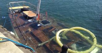 Zatopiony jacht wydobyto z mariny w Gdyni