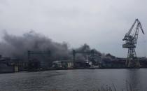 Pożar na terenach stoczniowych w Gdańsku