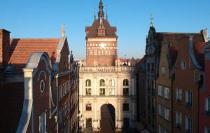 Historyczne bramy Gdańska z lotu ptaka