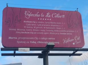 Miłosne wyznanie i przeprosiny na billboardzie w Gdańsku