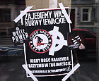 Celtyckie krzyże i groźby na witrynach barów w Gdańsku