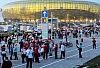 Podróż kibiców przez Gdańsk w dniu meczu