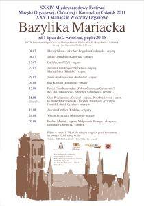 XXXIV Międzynarodowy Festiwal Muzyki Organowej, Chóralnej i Kameralnej Gdańsk 2011