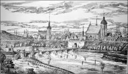 Panorama Gdańska z widocznym kościołem św. Bartłomieja (po prawej) i kościołem św. Jakuba.