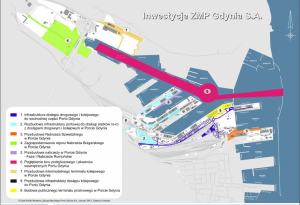 Nowy terminal powstanie na obszarze Nabrzeża Polskiego (teren zaznaczony na żółto, oznaczony nr 9).