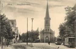 Tak niegdyś wyglądał ewangelicki kościół św. Jerzego i  jego okolice. Po prawej stronie widoczne tramwaje typu Herbrand.