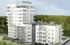 Budynek Panoramy to połączenie bryły czteropiętrowej z dziesięciopiętrową dominantą.