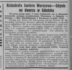 O katastrofie kolejowej w Gdańsku pisały największe gazety codziennie w całej Polsce. Tak informację opisywała gazeta Orędownik Ostrowski w dniu 19 maja 1939 r.