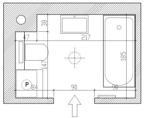 Wymiary pomieszczenia, rozmieszczenie urządzeń proponowane przez dewelopera.