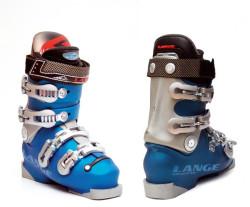 """Buty narciarskie """"Lange"""", zaprojektowane dla Hermanna Maiera, zdobywcy pucharu świata w sezonie 2001."""