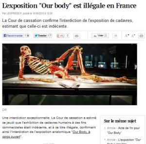 Pokazywania wystawy prezentującej poddane plastynacji zwłoki ludzkie zakazano m.in. we Francji.