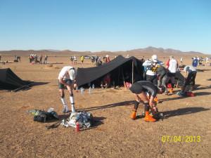 Namiot pod którym spali uczestnicy biegu