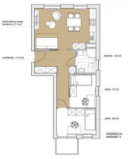 Koncepcja druga. Nowy duży pokój i kuchnia tworzą jedną, otwartą przestrzeń.
