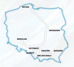 Miasta, między którymi będzie kursować pociągi z Włoch.