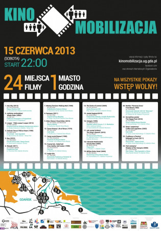 Rozpiska filmów i mapka projekcji w ramach Kinomobilizacji.