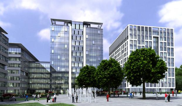 Olivia Four będzie kolejnym budynkiem zamykającym wewnętrzny dziedziniec między budynkami kompleksu Olivia Business Centre.