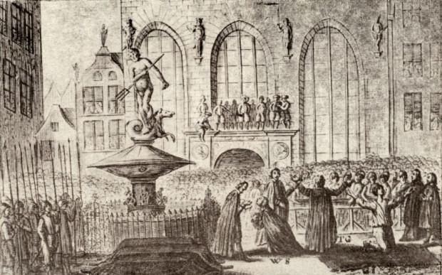 Fontanna Neptuna na ilustracji przedstawiającej egzekucję w dniu 7 marca 1650 r.