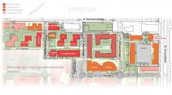 Najnowsza koncepcja zagospodarowania terenu Garnizonu w obrębie ul. Szymanowskiego. W dolnym lewym rogu widać pomysł wprowadzenia ruchu aut pod ziemię, zaś w prawym nowy wjazd z al. Grunwaldzkiej.