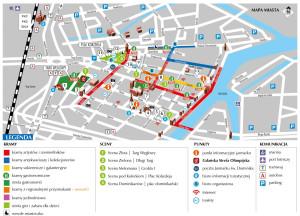 Mapa wszystkich atrakcji i stref handlowych na Jarmarku św. Dominika.
