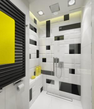 Kontrastowe zestawienie w tej łazience, w której użyto kafli z kolekcji Macieja Zienia London,  wzmacniają akcenty zdecydowanej żółci. Projekt - Anna Maria Sokołowska, Dragon Art.