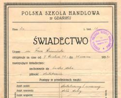 Świadectwo szkolne Polskiej Szkoły Handlowej z 1939 r.