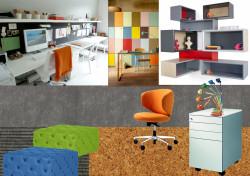 Wyraźne kolory i akcenty kolorystyczne mają ożywić wnętrze i zapewnić energię do pracy.