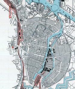 Mapa centrum Gdańska opracowana w 1934 r.