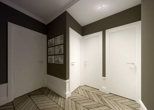 """Koncepcja druga. Przedpokój traktowany zazwyczaj jako pomieszczenie """"funkcyjne"""" może od progu robić wrażenie, jeśli niekonwencjonalnie go wykończymy i wyposażymy. Na przykład w stylu klasycznym."""