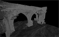 Tak wygląda fragment piwnic, zinwentaryzowany za pomocą skanowania laserowego 3D.