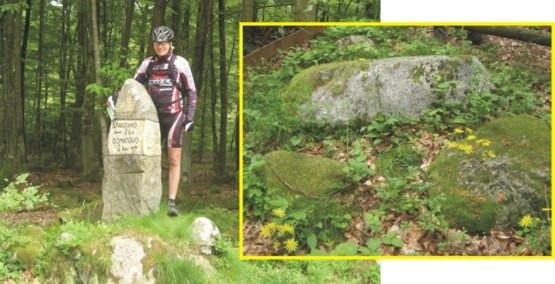 """od lewej: przy kamiennym drogowskazie tzw.""""Białym Kamieniu"""" / zdjęcie po prawej: głaz narzutowy """"Boża Stopka"""""""