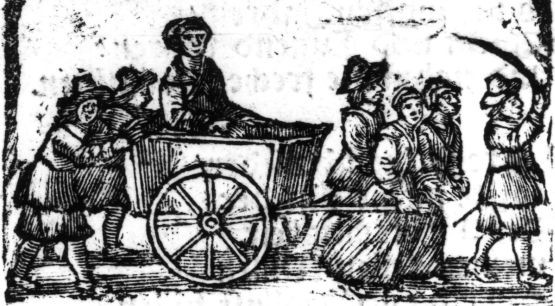 """Rycina, przedstawiająca ostatnią drogę Elsy Beyer, pochodzi z druku pt. """"Gewandte Rede der armen offenbahren Sunderin  Elisabeth Beyers sonsten Fuhrmans Else genandt..."""", wydanego w Gdańsku w 1664 r."""