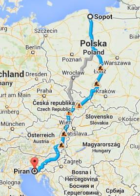 Trasa Sopot-Piran.