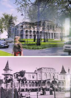 Porównanie proponowanej zabudowy i starej Hali Plażowej - widok od strony dziedzińca.